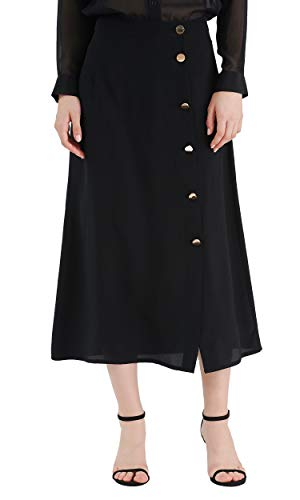 LilySilk 100 Pure Silk Skirt for Women Ladies Button Cloused A Line Long Ankle Length Soft Black XL/14-16