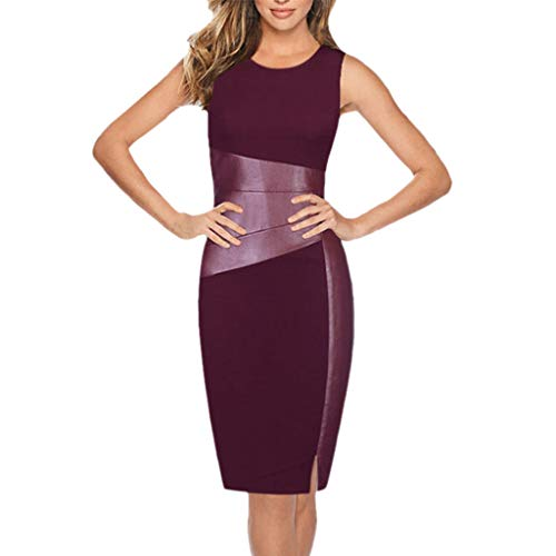 Women Mini Dress, JOYFEEL ❤️ Ladies Bodycon O-Neck Sleeveless Pencil Dress Stitching Knee Length Cocktail Dress Wine Red - Deerskin Dress