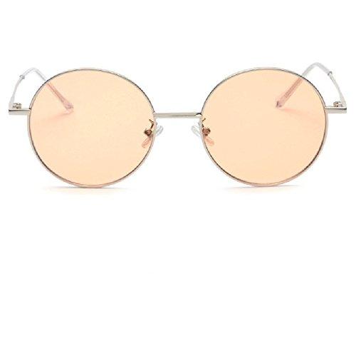 Sunyan Japan und Südkorea Mädchen weiche Schwester Farbe Spiegel runde Sonnenbrille die männlichen stilvolle Sonnenbrillen, silbernen Rahmen porn. C 39