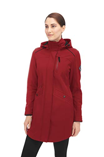 Alpine North Women's Soft-Shell Jacket Lightweight Water Repellent Long Coat (Medium, Cranberry)