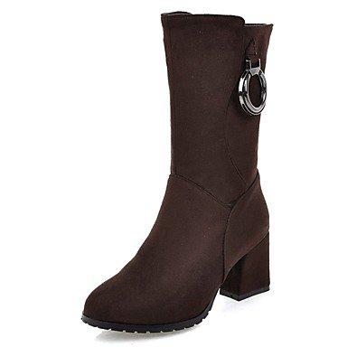 RTRY Zapatos De Mujer Invierno Polipiel Comodidad Ronda Toe Botines Botas/Botines Por Parte &Amp; Vestido De Noche Negro Marrón US8.5 / EU39 / UK6.5 / CN40