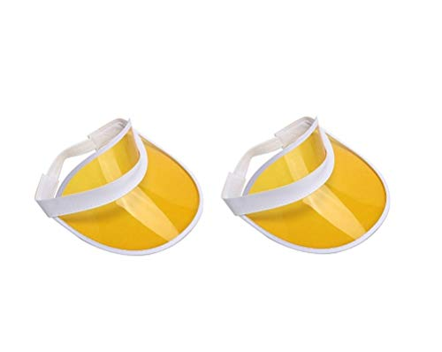 Plastic Visor, Beach Visor Colored Sun Tennis Retro Vegas Casino Visor Hat Golf Cap (Yellow [2 Pack])