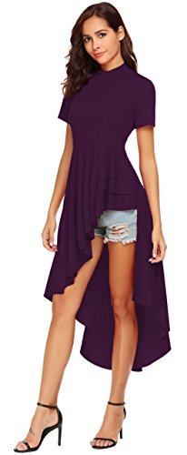 Asymmetrical Bodice (SimpleFun Womens Ruffle High Low Asymmetrical Short Sleeve Bodycon Tops Blouse Shirt Dress (L, Purple))