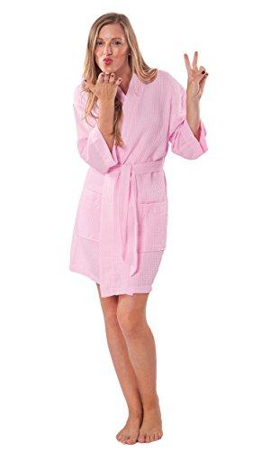 758f6573eb Turquaz Linen Lightweight Thigh Length Waffle Kimono Bridesmaids Spa Robe