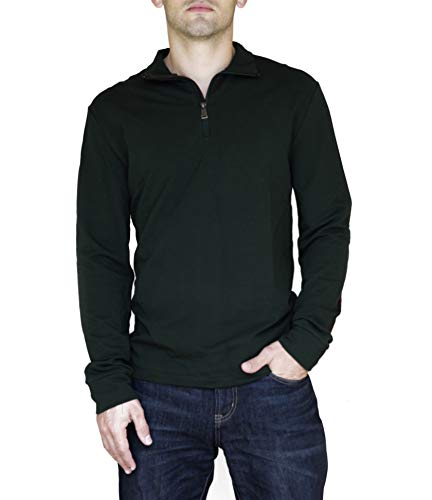 (Ralph Lauren Mens 1/4 Zip Elbow Patch Casual Shirt Deep Pine M)