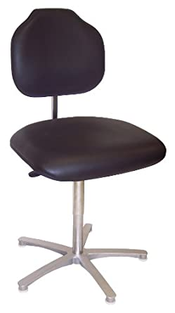 """Milagon WS1389KL Brio Black Vinyl Workseat on Cast Aluminum Star Base Big and Tall Chair with Glides, Low Profile, 18""""-25"""" Adjustment Height"""
