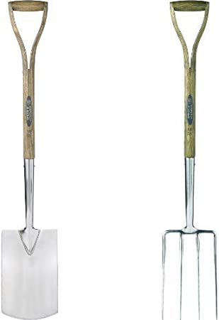 Spear /& Jackson Traditional Digging Spade /& 4550DF Traditional Stainless Steel Digging Fork Bundle