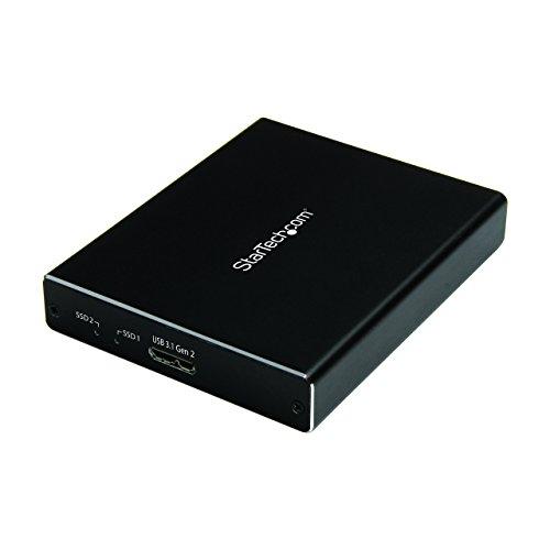 StarTech.com Dual mSATA Enclosure - RAID - mSATA SSD Enclosure - USB 3.1 (10Gbps) - USB-A & USB C External Enclosure - Aluminum