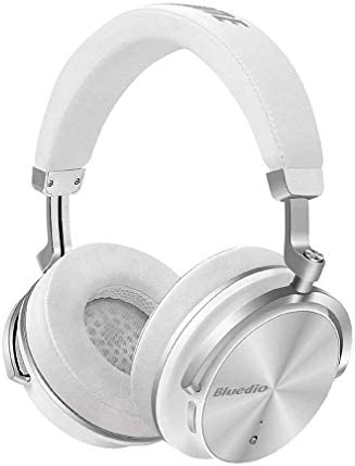 Bluedio T4S Superior Turbine Active Noise Cancelling Bluetooth Headphones with Mic Over-Ear Swiveling Wired and Wireless High-End Headphones with Carrying Bag for Cell Phone PC TV White
