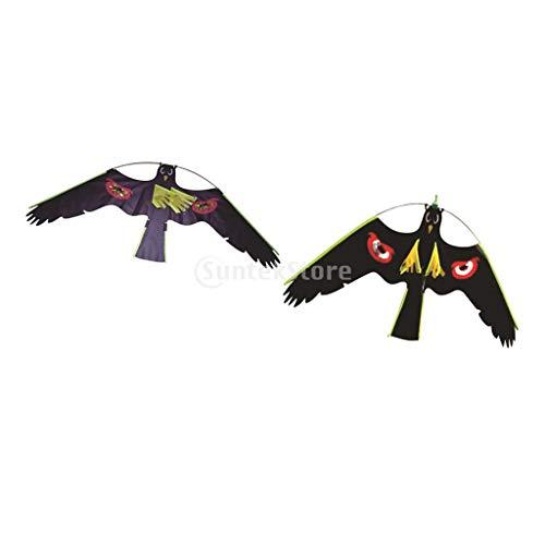 (Garden Scarecrow - 2x 1 3 Hawk Bird Scarer Kite Pest Deterrent Garden Pond Cat Decoy Outdoor Kids Toys Windsock - Indoor Strip Tattoo Ultrasonic Spray Repel High Nylon Bird Pigeon Furniture P)