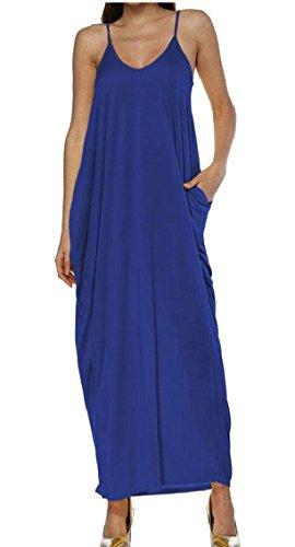 HTOOHTOOH Womens Deep V Neck Spaghetti Strap Pockets Maxi Beach Dress 1 XL by HTOOHTOOH