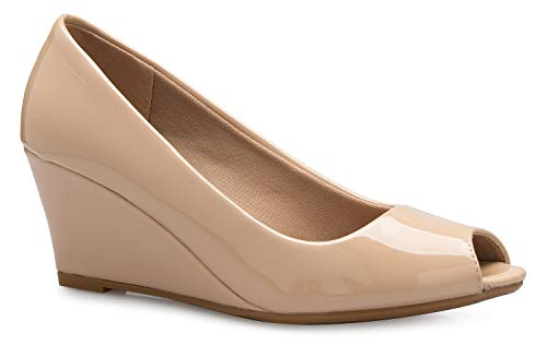 OLIVIA K Women's Adorable Low Peep Toe Wedge Heel Shoe - Comfortable, - Wedge Flat Heel Shoe Pump