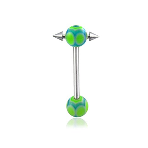 14Gx7/8(1.6x22mm) 316L Surgical Steel Straight Barbell with 6/6MM UV Spider's Web Ball and Small Barbell with Cone Moving in Side Tongue Piercing Rings
