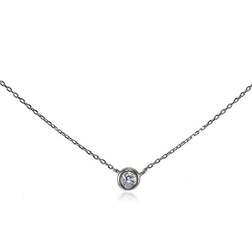 Sterling Silver Cubic Zirconia Bezel-Set Solitaire Tiny Choker (Sterling Silver Cubic Zirconia Necklace)