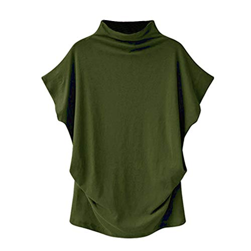 TOOPOOT Plus Size Blouse for Women, New Turtleneck Short Sleeve Cotton Solid Casual Blouse Top T Shirt Plus Size Army Green ()