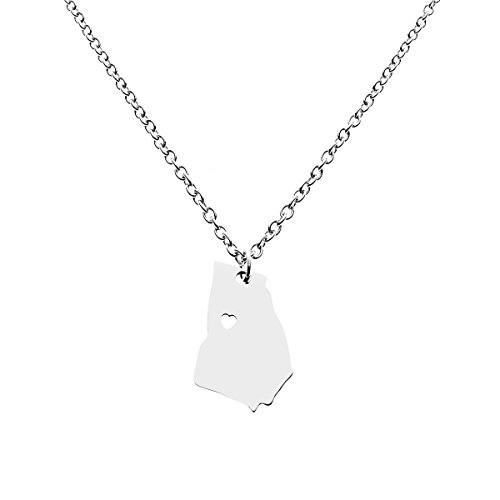 - Georgia State Necklace Pendant Country Map GA Pendant Charm Jewelry Gift for Women Teens