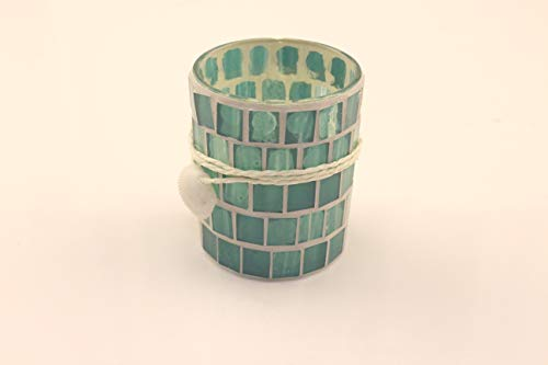 Youway Style Mediterranean Ocean Blue Mosaic Glass Candles Holder for Relaxing, Sofing Mood at Home, Restaurant and Cafe Decoration(7 x 8.5 cm)