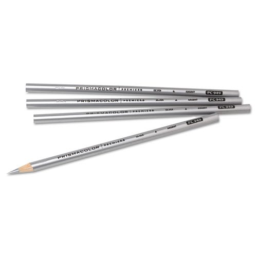 Prismacolor 03375 Thick Lead Art Pencil Silver Lead/Barrel Dozen