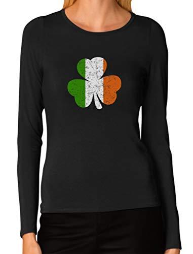 (Ireland Shamrock Distressed Irish Flag Clover St. Patrick's Day Women Long Sleeve T-Shirt Large Black)