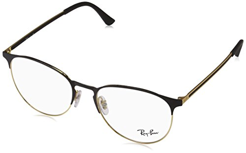 Ray-Ban RX6375 Round Metal Eyeglass Frames, Black on Gold/Demo Lens, 53 ()