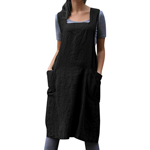 Womens Vintage Cross Back Sleeveless Apron Overall Tunic Dress, Casual Baggy Pinafore Midi Dress With Pockets S-2XL (Black, XX-Large) from Aritone - women clothes