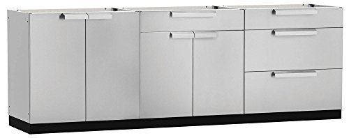 NewAge 65084 NewPage Products Cabinet Stainless Steel, (3 Piece) Outdoor Kitchen Set, Less -