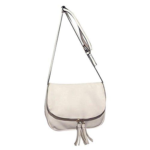 blanc Zipper Tassel Sac à Flap bandoulière Style Blanc bandoulière Sac Femmes Donalworld qZwC4vR