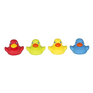 Playgro Mini-Ducks for The Bath, 4 Pieces, Fully Sealed, Water and Dirt Resistant, Ideal for Baby's Bath, from 6 Months, BPA Free, Colourful, 40212