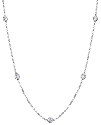 14k Gold Diamonds Station Style Necklace (16 Inch) by deBebians