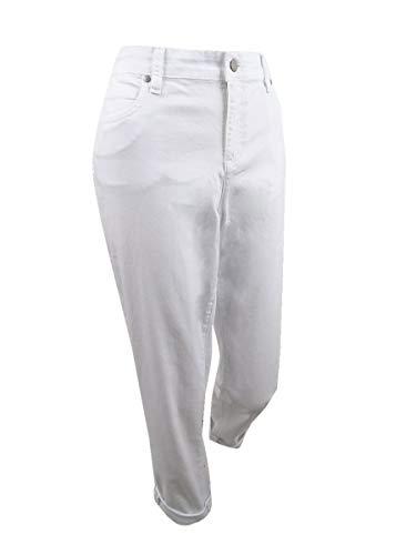 Eileen Fisher Womens Stretch Cuffed Boyfriend Jeans White 14