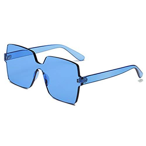 Bleu Ioshapo Carré Bonbon Unisexe Surdimensionnées Soleil Couleur Transparent De Lunettes Lentille Mode aYOraPq