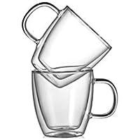 CnGlass Insulated Espresso Glass Mugs 5.4oz,Clear Coffee Mugs Set of 2 Double Wall Glass Mug with Handle,Cappuccino…