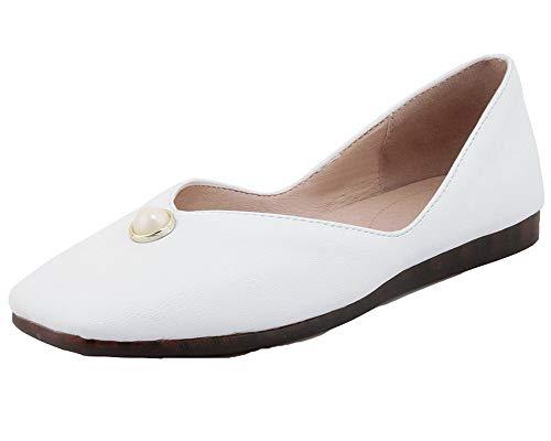 AgooLar Femme Chaussures Couleur à Carré Tire Cuir GMBDB013268 Unie PU Bas Talon Blanc Légeres ZHwqZr6d