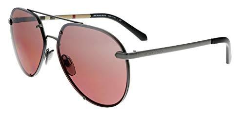 Burberry Men's Pilot Sunglasses, Dark Gunmetal/Pink Mirror, One ()