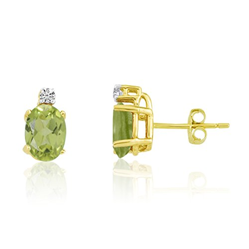 1.80 Carat (ctw) 14k Yellow Gold Oval Green Peridot and Diamond Solitaire Stud Earrings with Post with Friction Back (7 x 5 MM)