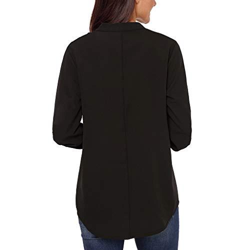 Femme V Unie Taille Longues Col À Revers Manteau Grande Croix Jibo Bandoulière Manches Black Chemise Couleur En D2IeEbW9HY