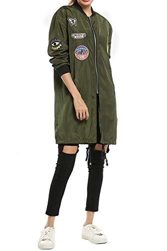 Lunga Casual Cappotto Fashion Vintage Outerwear Giacca Manica Coreana Armeegrün Donna Autunno Primaverile Distintivo Sciolto Eleganti Collo Con Pilot Bomber RzwqpZt