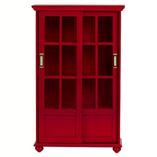 BS Barrister Βookcase Red with Glass Doors Bookshelf Wooden Cabinet Display 4 Shelves Standard Bookcase Home Office Lawyers Accent Cabinet Free Standing Organizer Furniture &eBook by BADA Shop