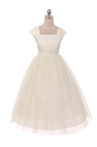 [This Flower Girl Communion Dress for Girls - Cap Sleeves and Satin Tulle Skirt with Elegant Lace Trim - Size 6,] (Hollywood Themed Costumes Women)