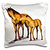 Digital Paint Animal - Mother and Child Horses - 16x16 inch Pillow Case
