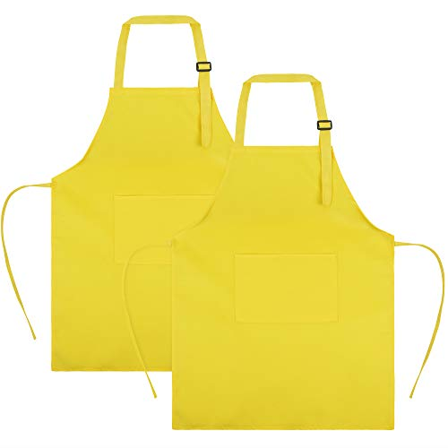 (SINLAND Kids Apron with Pocket 2 Pack Children Chef Apron for Cooking Baking Painting (M, Yellowx2))
