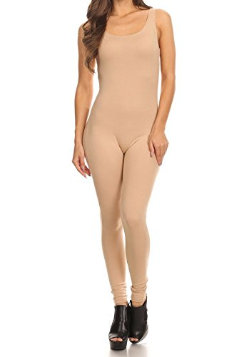 The Classic Womens Stretch Cotton Sleeveless One Piece Unitard Jumpsuit Bodysuits Small to Plus (Medium, Natural) (Piece One Stretch)