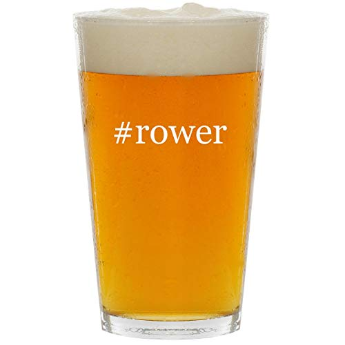#rower - Glass Hashtag 16oz Beer Pint