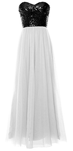 MACloth Women Long Bridesmaid Dress Strapless Sequin Wedding Party Formal Gown Black-White