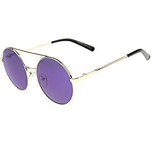 zeroUV - Lennon Full Metal Double Bridge iridescent Mirrored Lens Round Sunglasses