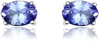 JewelryPalace Women's 1ct 925 Sterling Silver Natural Tanzanite Stud Earrings