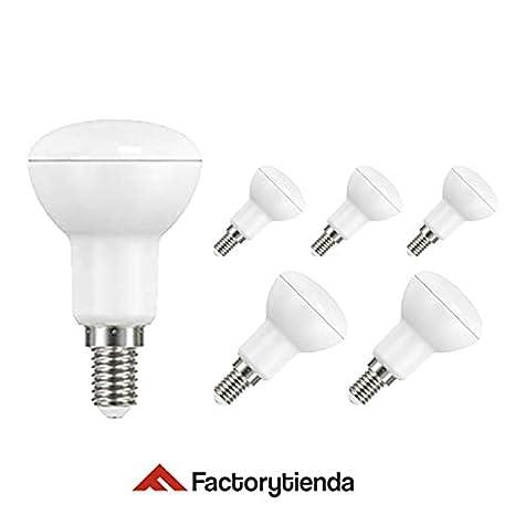 Pack 6 Bombillas LED R50, 5W,(equivalente a 50W), casquillo E14