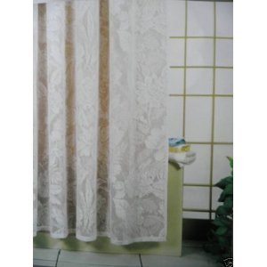 Image Unavailable Not Available For Colour Beautiful Lace Waterproof Shower Curtain Cream Or White