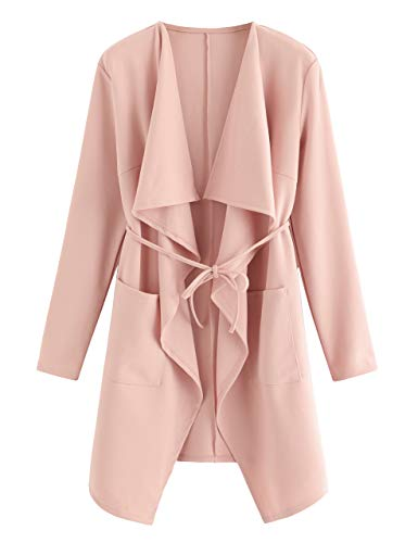 Romwe Women's Waterfall Collar Long Sleeve Wrap Trench Coat Cardigan Pink XS
