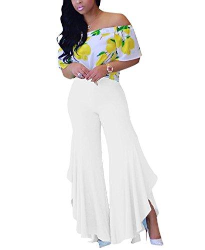 Luluka Women's High Waist Ruffle Hem Flared Trousers Solid Casual Palazzo Pants US Large White